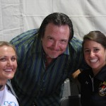 Mike O'Donnell poses with Julia Clukey (left) and Emily Sweeney (right), who are members of the U.S. Olympic Luge Team, which Vulcan GMS sponsors annually.