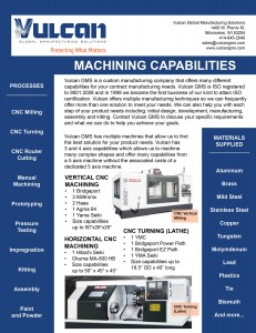 Image of Vulcan GMS Machining Brochure